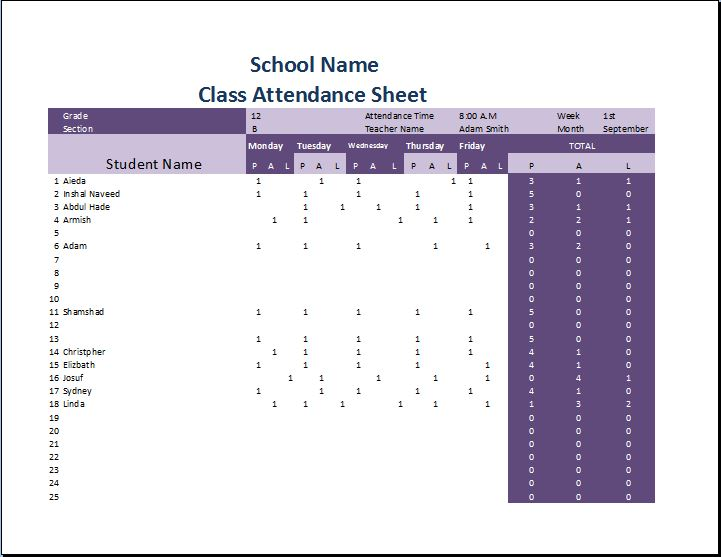 Printable Attendance Sheets Template