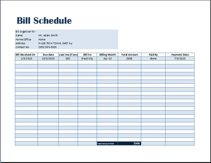 Bill Payment Schedule Template