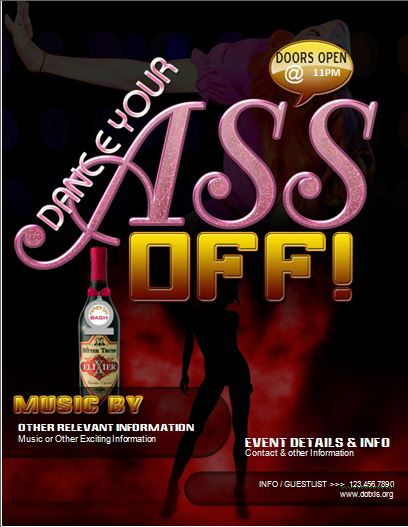 Dance Your Ass off Club Party Flyer
