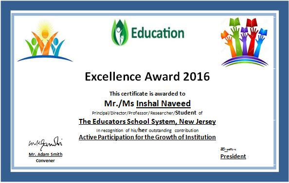 MS Word Education Excellence Award Certificate Template ...
