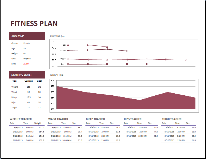 MS Excel Fitness Planner Template
