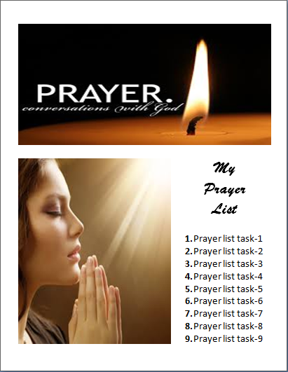 Prayer List Template