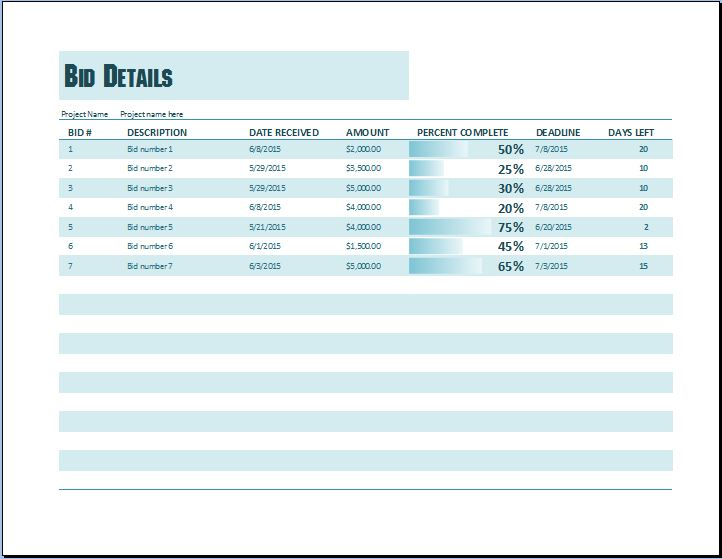 Project Bid Tracking Template