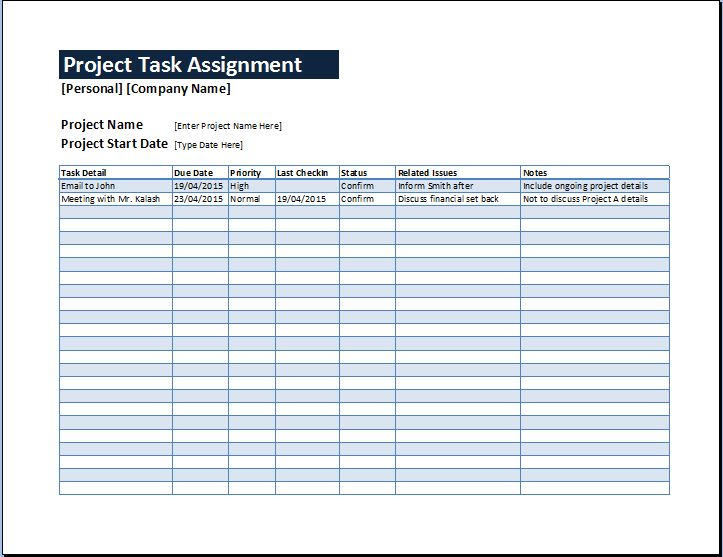 Project Task Assignment Management Sheet