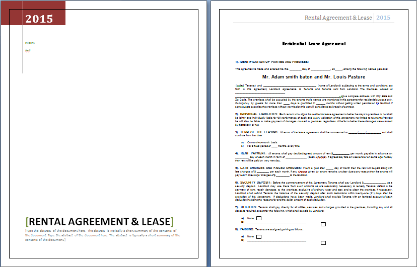 Rental Agreement and Lease Template