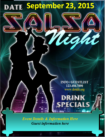 Salsa Night Dance Club Party Flyer