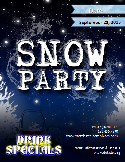 Snow party flyer template