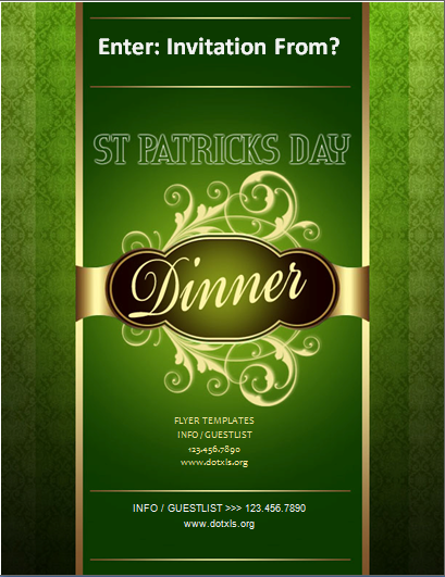 St. Patrick's Day Dinner Flyer