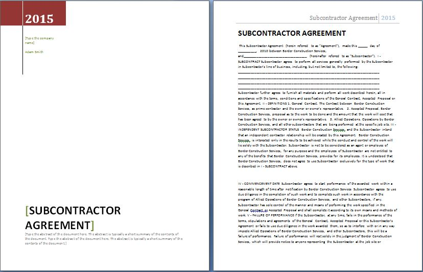 Formal Subcontractor Agreement Template