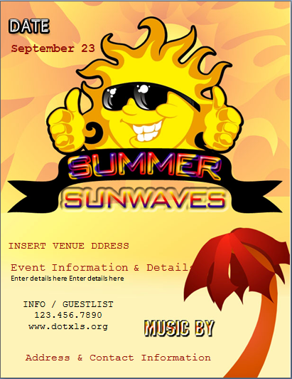 Summer Sun Wave Party Flyer