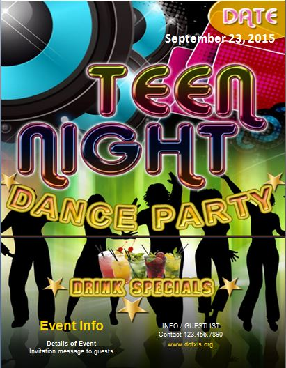 Teen Dance Party Flyer