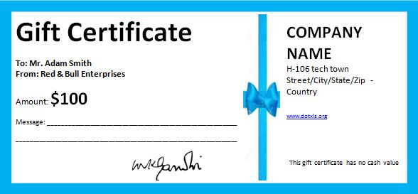 MS Word Professional Gift Certificates