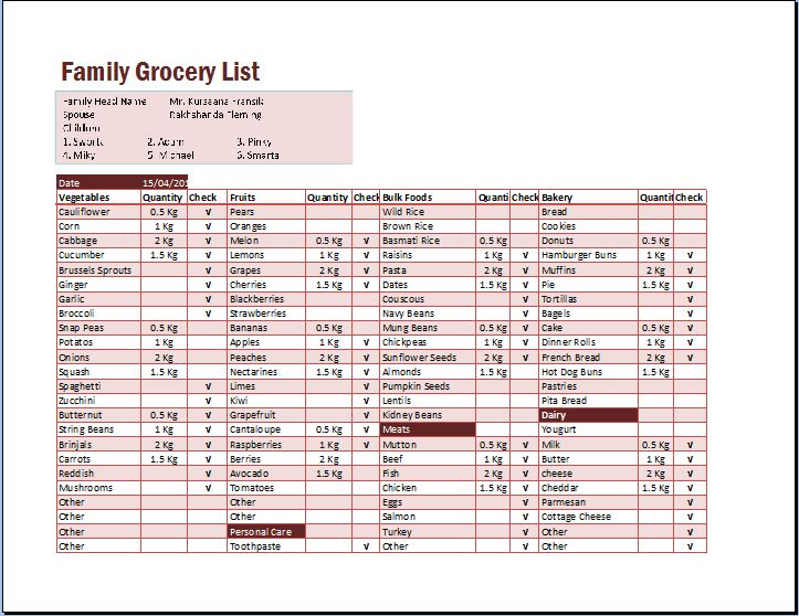 Family Grocery List Excel Format