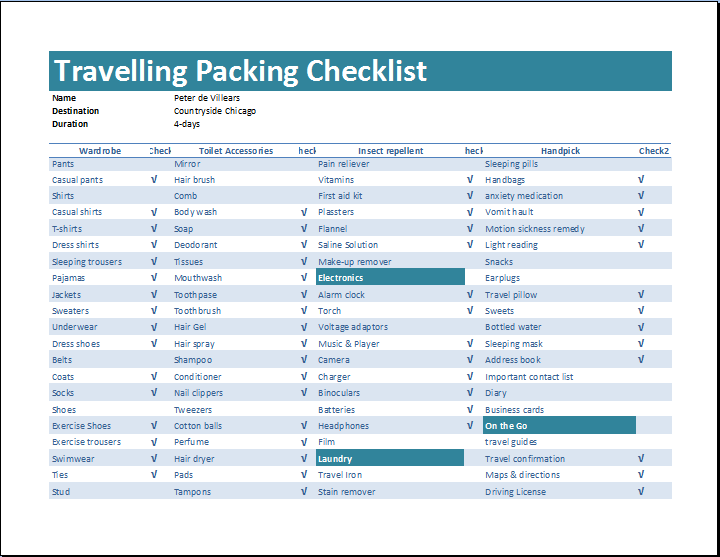 Travelling packing checklist template word excel templates travelling packing checklist template maxwellsz