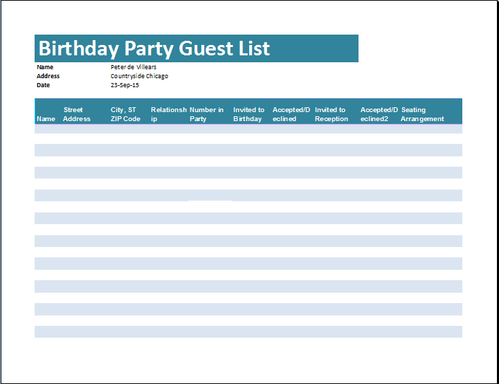 Birthday Party Guest List