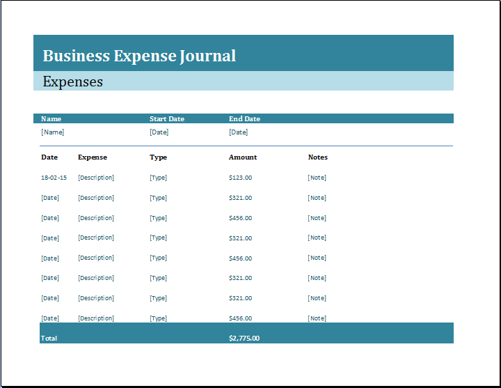 Business Expense Journal Template