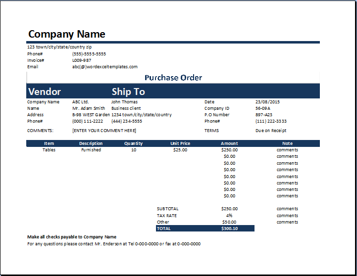 Product Purchase Order Template