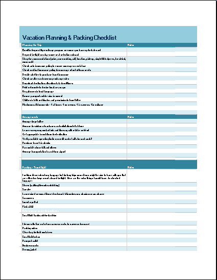 Vacation Planning and Packing Checklist
