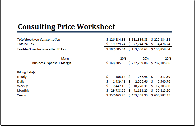 Consulting Price Worksheet