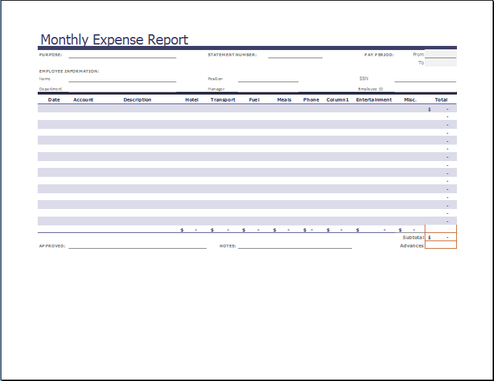 Comprehensive Monthly Expense Report