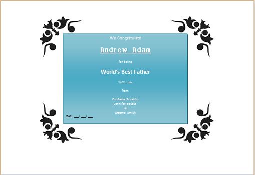 Worlds Best Father Award Certificate