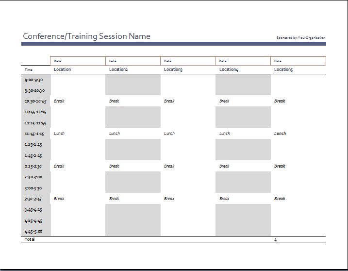 employee work schedule format word excel templates