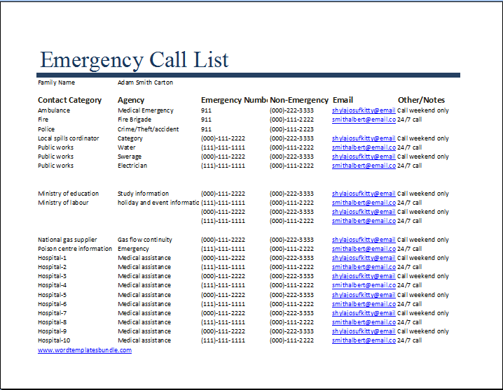 This is a photo of Printable Emergency Contact List with regard to fridge