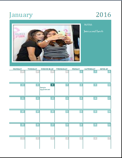 Family Photo Calendar [Any Year]