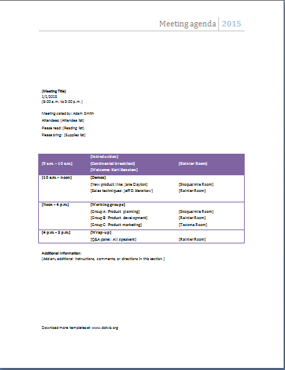 MS Word Meeting Agenda Templates
