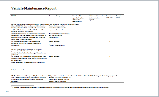 Vehicle Damage, Incident, Inspection and Maintenance Reports