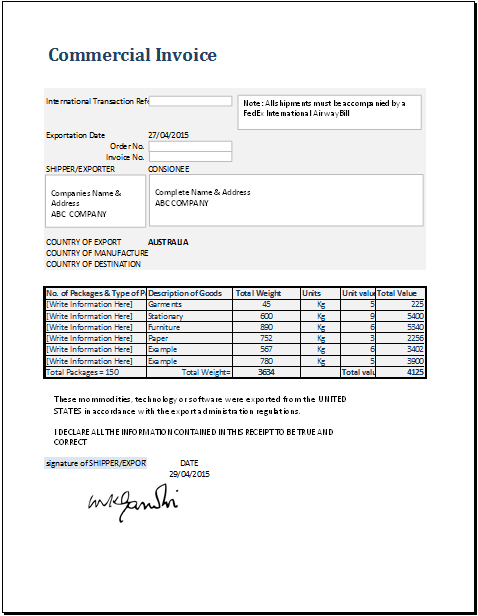 commercial invoice template for ms excel word excel templates