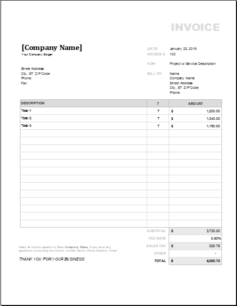 4 customizable invoice templates for excel word excel templates