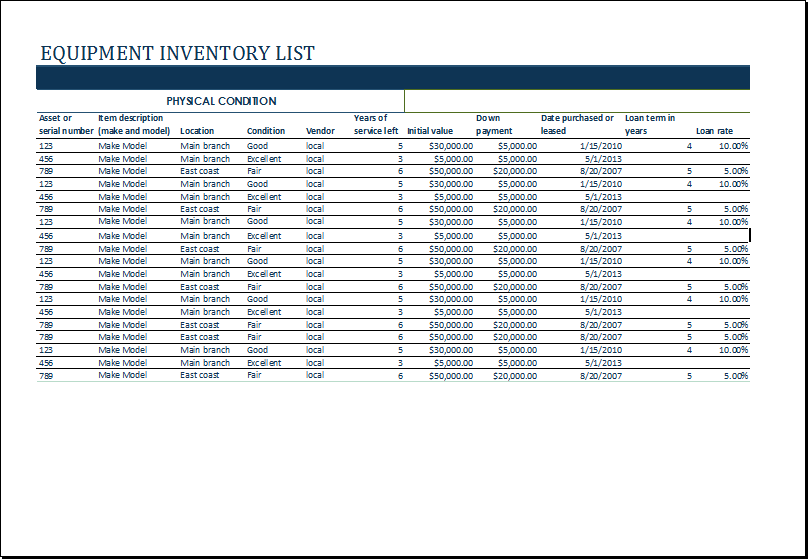Equipment Inventory Log