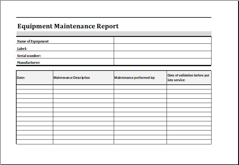equipment maintenance report