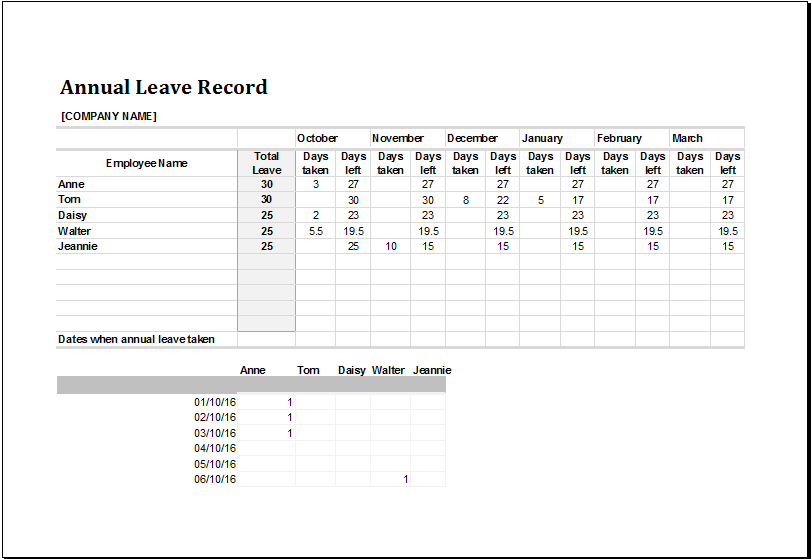 leave planner template