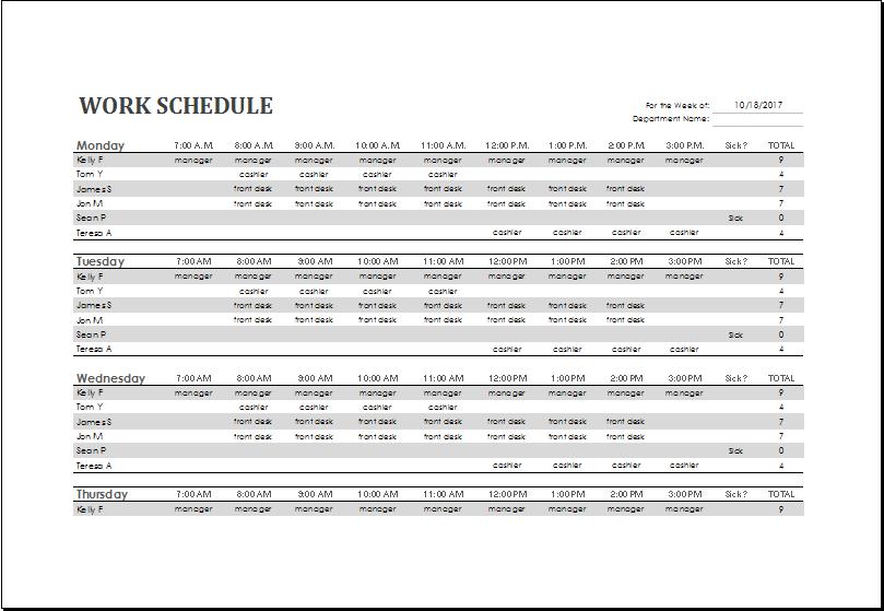 office work schedule