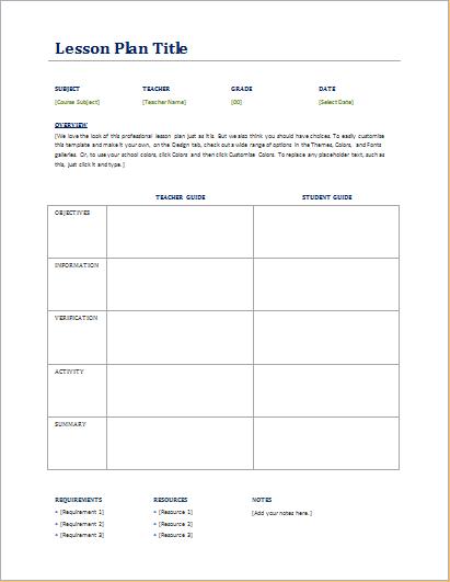 teacher student lesson planner