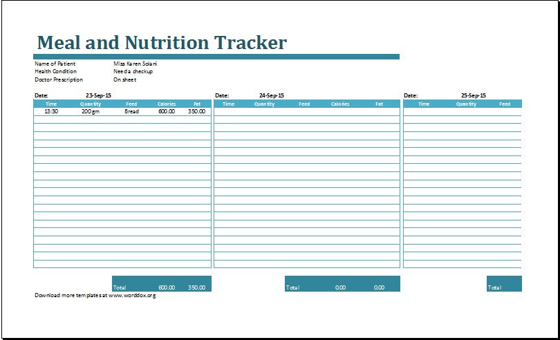 meal and nutrition tracker