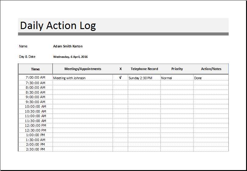 Daily action log