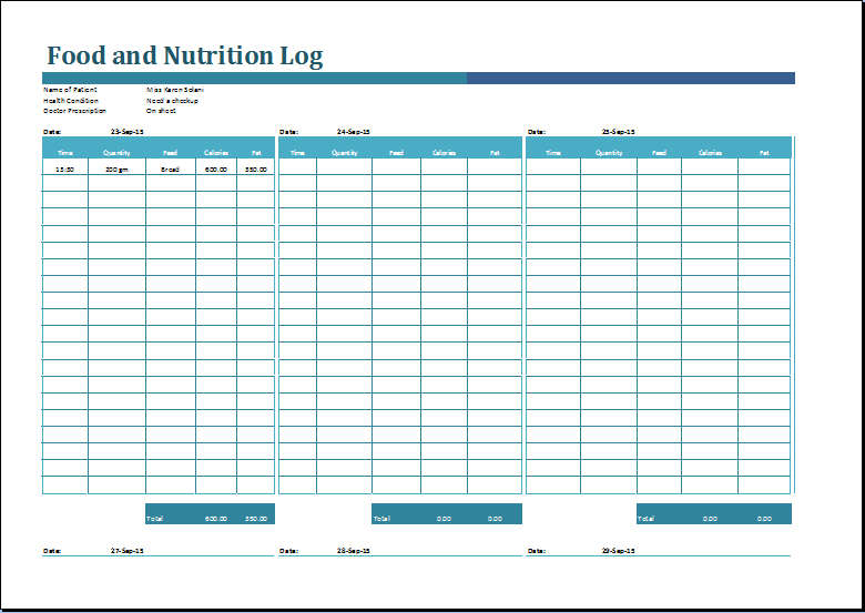 Sales Log Food Nutrition And Action Log Templates Word Excel Templates