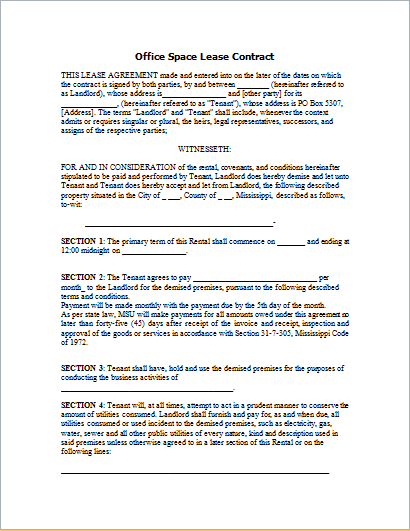 Office space lease contract