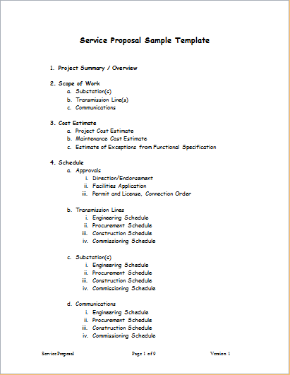Service Proposal Template For Word Word Excel Templates