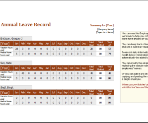 Employee Annual Leave Record Spreadsheet