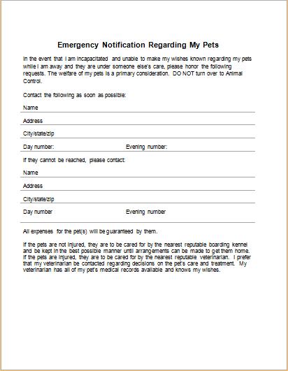 Emergency Notification Regarding My Pets