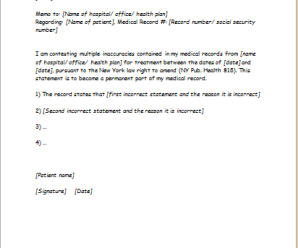 Inaccurate Medical Record Statement