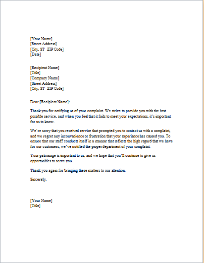 Laundry service apology letter