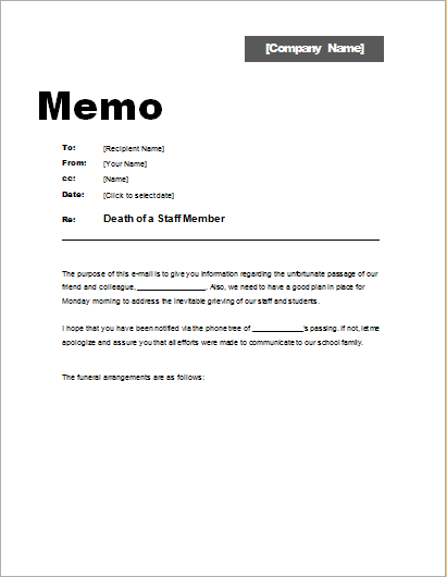 Memo about Death of a Staff Member