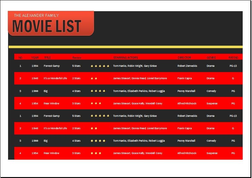 Movie list template