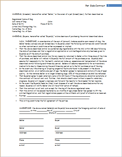 puppy contract template puppy sale contract template - Acur.lunamedia.co