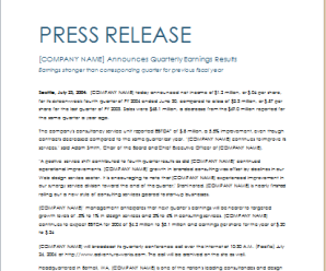 Quarterly Earning Press Release Template